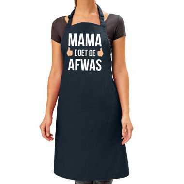 Mama doet afwas cadeau katoenen kookschort zwart dames