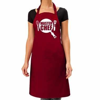 Master chef barbeque kookschort / kookschort bordeaux rood dames
