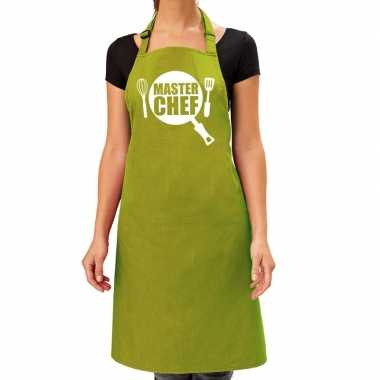 Master chef barbeque kookschort / kookschort lime groen dames