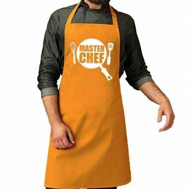 Master chef barbeque kookschort / kookschort oker geel heren