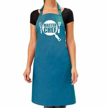 Master chef barbeque kookschort / kookschort turquoise blauw dames