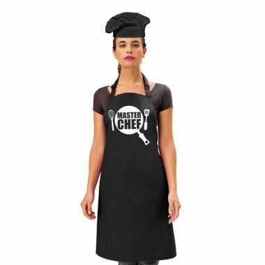 Master chef kookschort zwart dames zwarte koksmuts