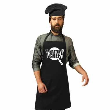 Master chef kookschort zwart heren zwarte koksmuts