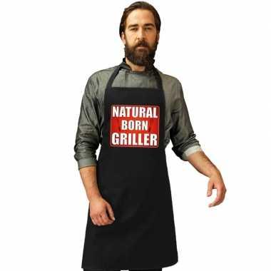 Natrural born griller barbecuekookschort/ kookschort zwart heren