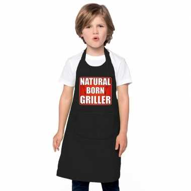Natural born griller barbecuekookschort/ kookschort zwart kindere