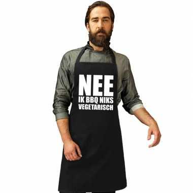 Nee niks vegetarisch barbecuekookschort/ kookschort zwart heren