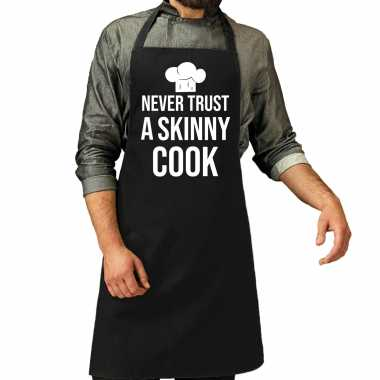 Never trust a skinny cook barbecue / barbecue kookschort zwart heren