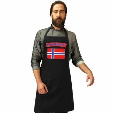 Noorwegen vlag barbecuekookschort/ kookschort zwart volwassenen