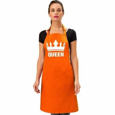 Oranje queen kookschort/ barbecue kookschort kroon heren