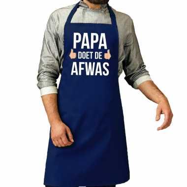 Papa doet afwas cadeau katoenen kookschort blauw heren
