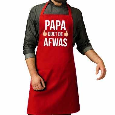 Papa doet afwas cadeau katoenen kookschort rood heren