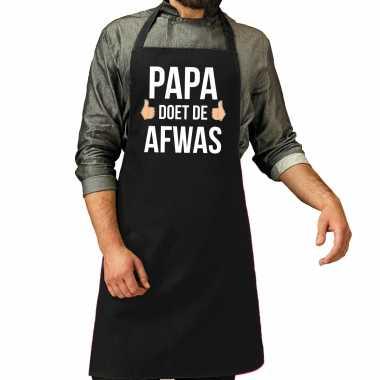 Papa doet afwas cadeau katoenen kookschort zwart heren