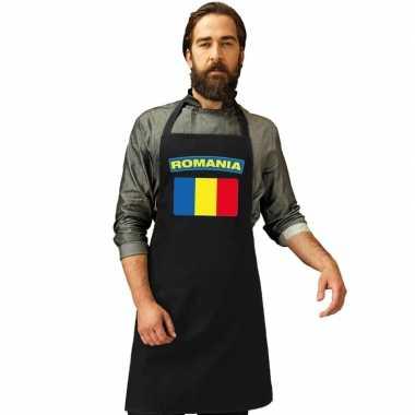 Roemenie vlag barbecuekookschort/ kookschort zwart volwassenen