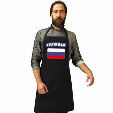 Rusland vlag barbecuekookschort/ kookschort zwart volwassenen