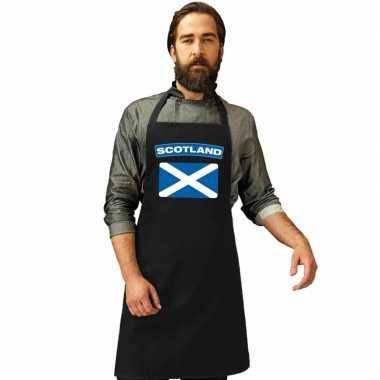 Schotland vlag barbecuekookschort/ kookschort zwart volwassenen