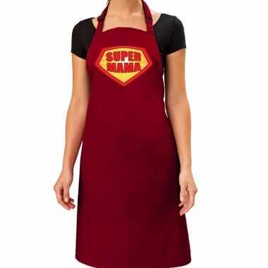 Super mama barbeque kookschort / kookschort bordeaux rood dames