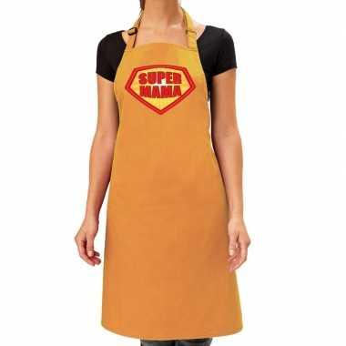 Super mama barbeque kookschort / kookschort oker geel dames