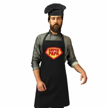 Super papa barbecue / kookschort zwart heren zwarte koksmuts