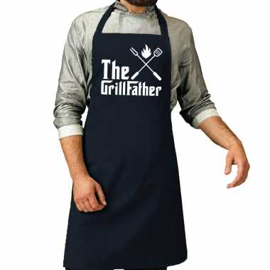The grillfather barbecue / barbecue kookschort navy blauw heren
