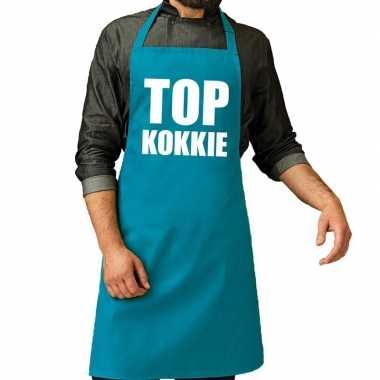 Top kokkie barbeque kookschort / kookschort turquoise blauw heren