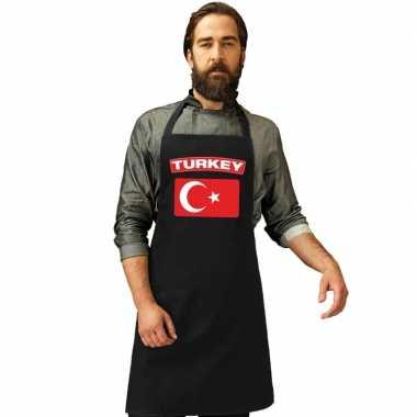 Turkije vlag barbecuekookschort/ kookschort zwart volwassenen