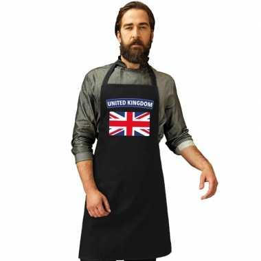 United kingdom vlag barbecuekookschort/ kookschort zwart volwassen