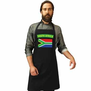 Zuid afrika vlag barbecuekookschort/ kookschort zwart volwassenen
