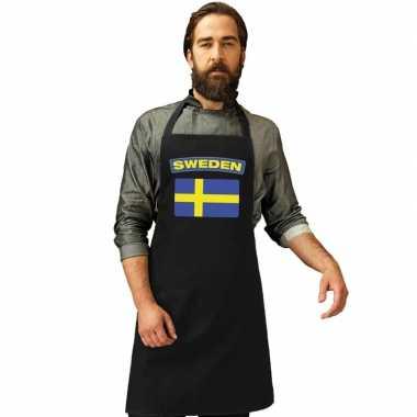 Zweden vlag barbecuekookschort/ kookschort zwart volwassenen