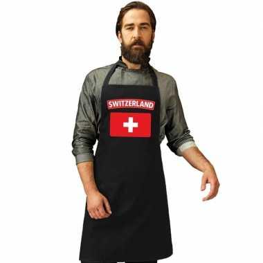 Zwitserland vlag barbecuekookschort/ kookschort zwart volwassenen